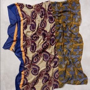 ANTHROPOLOGIE embroidered mixed paisley scarf